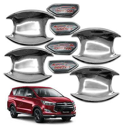 Door Handle Bowl Insert Cover Chrome 4 Pc For Toyota Innova Crysta 2017 - 2018