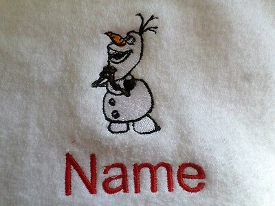 OLAF and Personalised Name Embroidered on Towels Bath Robes Hooded Towel Frozen