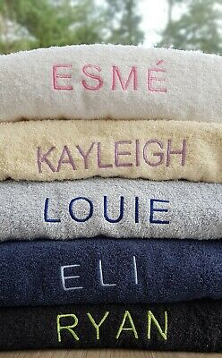 Embroidered Personalised Towel or set with Any One Name - Variety colours