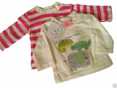 Ex mothercare Baby Girls T-Shirts with Cute Kitten Applique