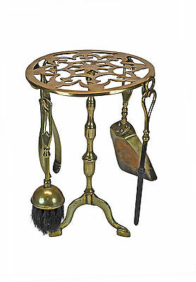 Antique Brass Trivet, Footman with Set of Fire Place or Hearth Tools, English.