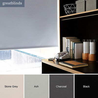 Dark Grey Blackout Roller Blinds - Made To Measure - Extra Wide Widths