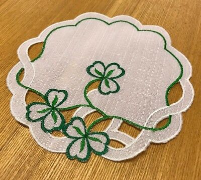 "New! 6 PACK Irish 8"" Round White Green Shamrock Doilies Lace Coasters Place Mat"
