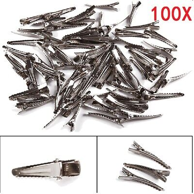 100 Silver Crocodile Alligator Bow Blank Metal Hair Clip Teeth Prong Pinch Plain