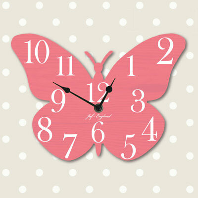 Vintage Butterfly Clock, Butterfly Shaped Wall Clock, Wooden style, Many Colours