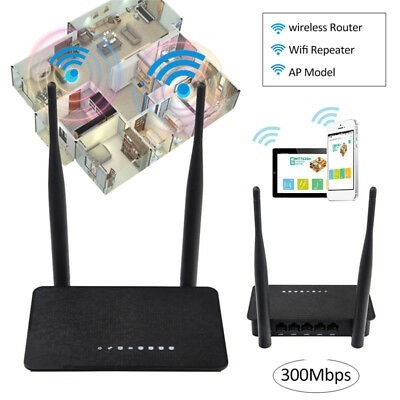 Mini Dual Antenna 300Mbps Wireless Router Extender 2.4Ghz Wifi Repeater AP Mode