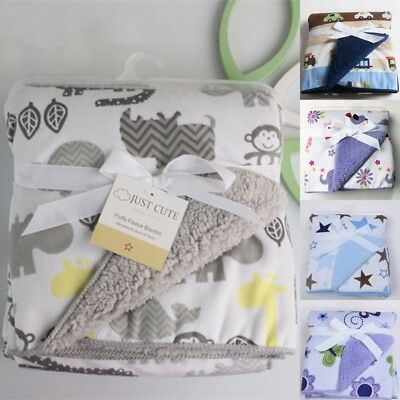 Bassinet Soft Warm Fleece Wrap Blanket Newborn Baby Cartoon Swaddle Sleeping Bag