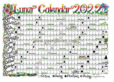 2018 A2  Large Wall Planner including Lunar cycle luna luner moon Gwen Davies