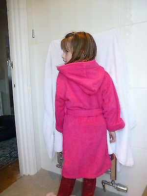 100% Cotton Terry Towelling Childrens Hooded Robes, Royal or Cerise, Ages 2-12
