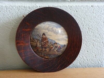 Antique Prattware Pot Lid Fishing Scene Framed