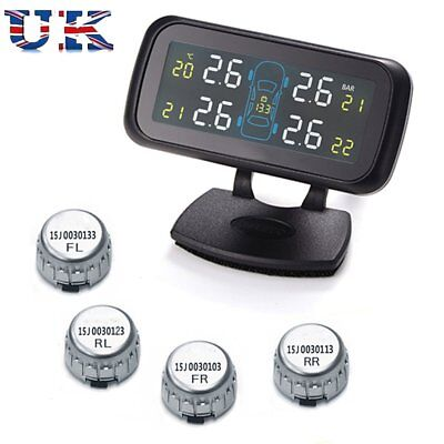 Wireless Car Tire Pressure LCD Dynamically Alarm Monitor System TPMS +4 Sensors