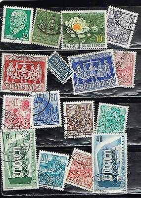 (13-852) 16 Assorted Cancelled  Postage sTamps from Germany