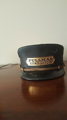 Antique Railroad Pullman Conductor Hat Leather & Cloth Marshall Field Chicago