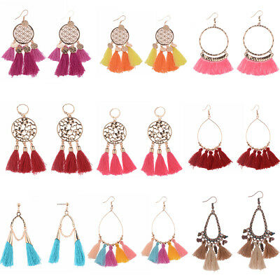 Fashion Vintage Bohemian Multicolor Tassel Cotton Hook Drop Women Charm Earrings