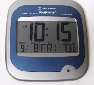 Fisher Scientific Mdl 14-648-5 Digital Wall Clock Thermometer Calendar Clean