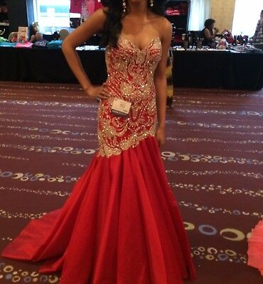 Red Sherri Hill Couture Evening Formal Gown for Prom / Pageant Altered to Size 0