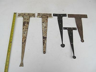 Antique ? & vintage?  metal decorative door brace hinge brackets oddments x 5 .