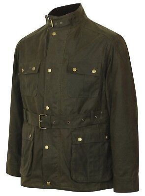 Men's Belted Luxury Green Wax Cotton Jacket Belted Biker Coat Motorcycle Wax
