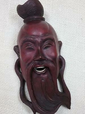 Vtg Chinese Carved Wooden Mask  with teeth