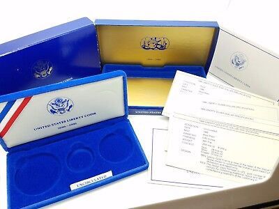 1886-1986 United States Liberty 3 Coins Gold Silver Half Dollar Empty Box & COA