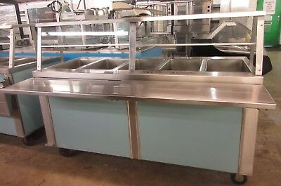 Duke 5-Well Heated Hot Food Cafeteria Style Steam Table  w/Sneezeguard & Casters