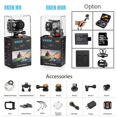 Original EKEN H9R Ultra 4K HD 1080P Action Sport Camera WiFi Waterproof DVD Bag