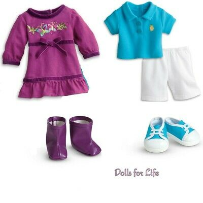 American Girl Bitty Baby Twin Butterfly Dress and Boots Outfit Sunny Fun Boy NEW