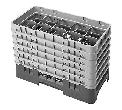 Cambro Camrack 10HS1114186 Half Size 10 Compartment Navy Blue Glass Rack with 6