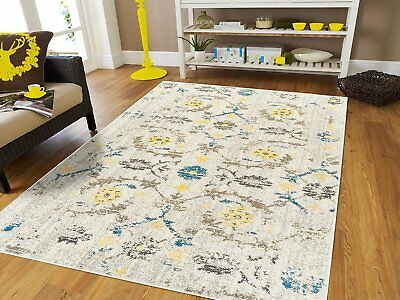 DISTRESSED AREA RUGS 8x10 Cream Yellow Blue Rug 5x7 Living ...