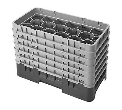 Cambro Camrack 17HS1114151 Half Size 17 Compartment Soft Gray Glass Rack with 6