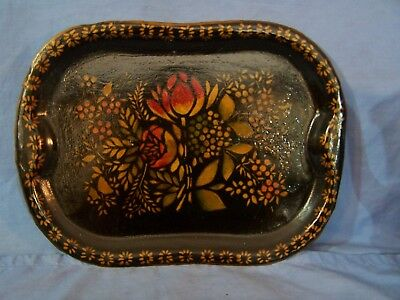 """Vintage Toleware Tole Hand Painted Metal Tray Signed / Dated 1944 NICE! 11.75"""""""