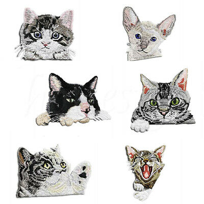 Craft Embroidery Sew On Badge Stickers Iron-On Patch Applique Cat Head Patches