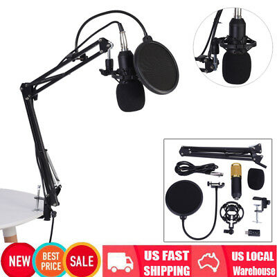 BM800 Condenser Microphone with Mic Suspension Scissor Arm Stand Shock Mount