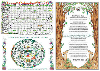 2018 Lunar Calendar, Wiccan rede and Wheel Of The Year Pagan poster set