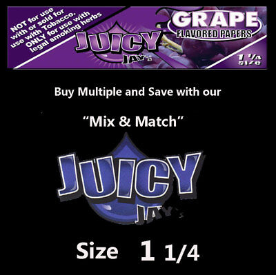 Juicy Jay Grape Rolling papers-  1 1/4 - save $ on multiple - 32 Papers per Pack