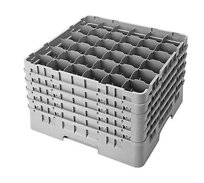 Cambro Camrack 36S958151 Full Size 36 Compartment Soft Gray Glass Rack with 5 Ex