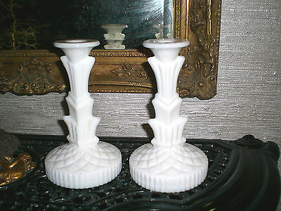 ART DECO MILK GLASS CANDLE HOLDERS / Tall Pair Antique