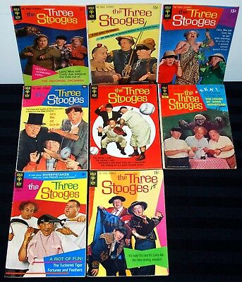 Gold Key Lot Of 8 The Three Stooges Comic Books #38-54 Low-Mid Grade L75