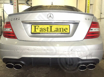 Mercedes C Custom Built Stainless Steel Exhaust Rear Dual System AMG Tailpipes 7