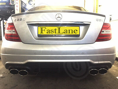 Mercedes C Custom Built Stainless Steel Exhaust Cat Back System AMG Tailpipes 5
