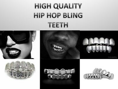 Mens Women's Silver Halloween Teeth Grillz  Tooth Mouth Bling tooth cap hip hop