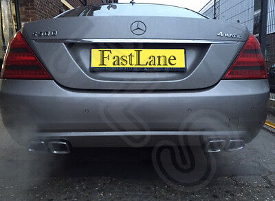 Mercedes S Stainless Steel Exhaust Rear Dual System & AMG Style Tips MS08