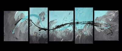NEW 5 Piece Abstract Canvas Painting in Turquoise and Grey