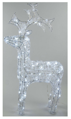 LED Outdoor Christmas Acrylic Reindeer - Cool White - 120cm