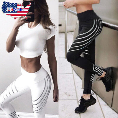 Women Waist Yoga Fitness Leggings Trousers Running Gym Stretch Sports Pants New