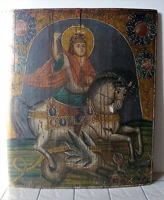 ANTIQUE Russian Orthodox Icon WOOD Hand Painting 19 c GEORGE the VICTORIOUS