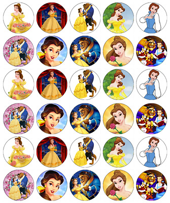 30 x Beauty And The Beast Cupcake Toppers Edible Wafer Paper Fairy Cake Toppers