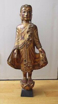 Antique Thai Standing Buddha (Wood)