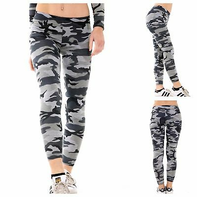 New Womens Ladies Casual Stretch Army Camouflage Print Girls Leggings Uk 8-22