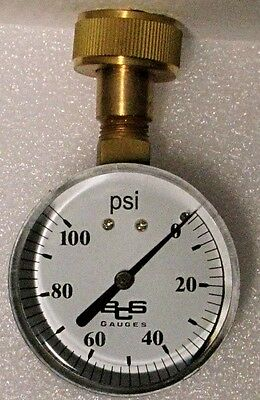 "Water Pressure Test Gauge, 100 PSI-  LARGE 2 1/2"" FACE  - FREE SHIPPING"